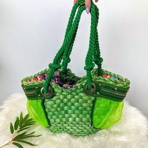 Francesco Biasia Neon Green Mesh & Raffia Bag